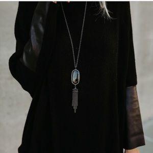 Kendra Scott Rayne Gunmetal Necklace in black NWT